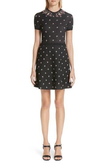Valentino Embellished Collar Floral Jacquard Dress, Black