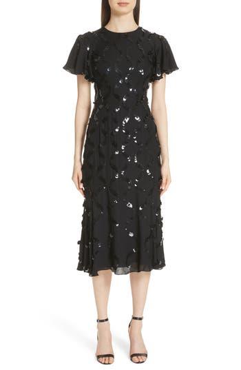 Sachin & Babi Sequin Flutter Sleeve Silk Dress