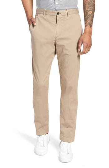 Men's Theory Zaine Patton Flat Front Stretch Solid Cotton Pants