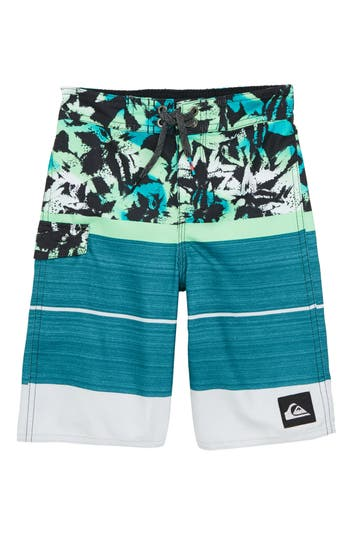 Boys Quiksilver Slab Island Board Shorts Size 4  Bluegreen