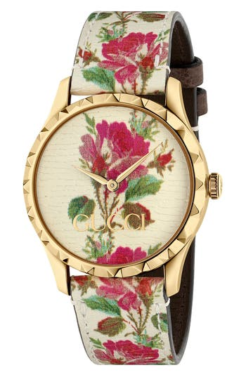 Gucci G-Timeless Print Leather Strap Watch, 38mm