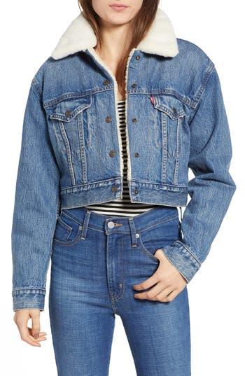 Levi's® Faux Fur Lined Crop Trucker Jacket