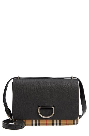 Burberry Medium D-Ring Vintage Check & Leather Crossbody Bag