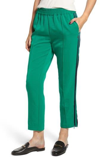 Women's Scotch & Soda Velvet Stripe Satin Track Pants, Size Small - Green