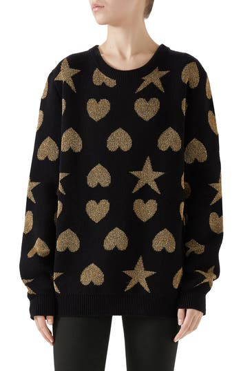 Gucci Metallic Logo Wool Blend Sweater