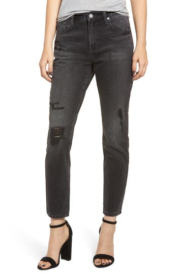 BLANKNYC RIVINGTON RIPPED HIGH WAIST TAPERED JEANS
