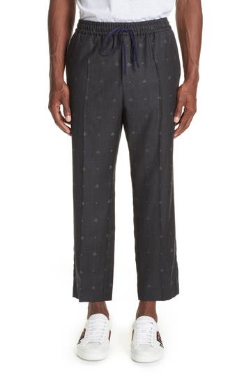 Gucci Tonal Bee Heart Wool Pants