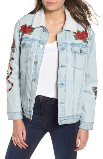 Women's Kendall + Kylie Fleece Lined Trucker Jacket, Size X-Small - Blue