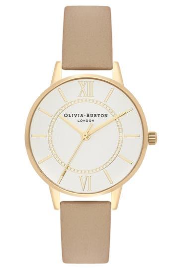 Olivia Burton Wonderland Leather Strap Watch, 30mm