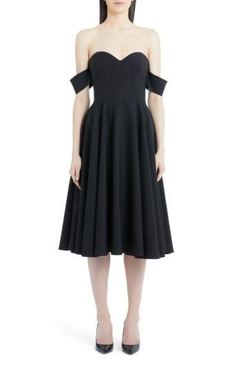 SARA BATTAGLIA PLEATED OFF THE SHOULDER DRESS