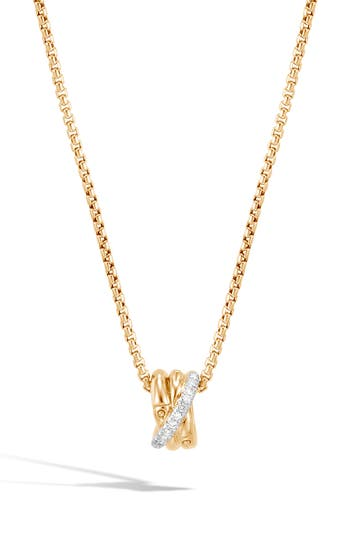 John Hardy Bamboo Diamond Pavé Pendant Necklace
