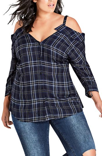 CITY CHIC CHIC CHIC REALITY CHECK COLD SHOULDER TOP