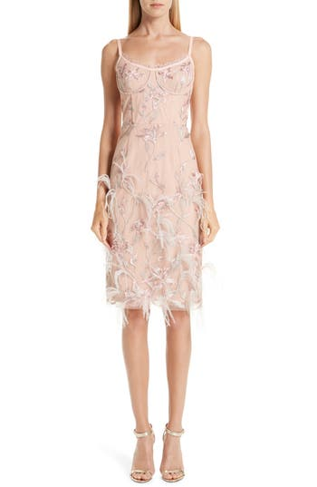 Marchesa Notte Ostrich Feather Trim Embroidered Corset Dress