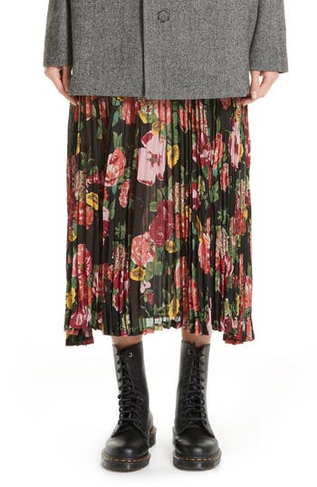 Junya Watanabe Floral Print Pleated Chiffon Skirt