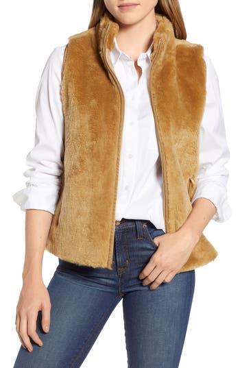 Women's J.crew Factory Plush Fleece Excursion Vest, Size X-Small - Brown