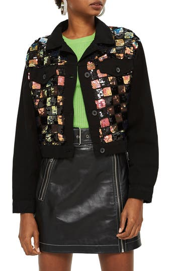 Women's Topshop Barry Sequin Shirt Jacket, Size Large - Black