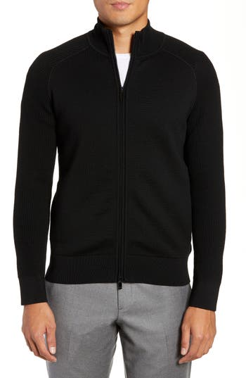 Z Zegna Trim Fit Wool Zip Cardigan