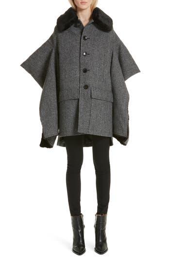 Junya Watanabe Faux Fur Trim Split Sleeve Wool Coat