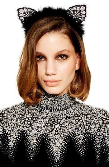Topshop Lace & Feather Cat Ear Headband