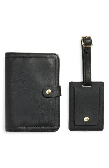 Sole Society Faux Leather Passport Case & Luggage Tag Set