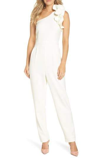 Eliza J One-Shoulder Ruffle Jumpsuit