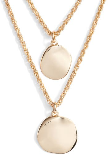 Halogen® Hacked Classic Layered Coin Necklace