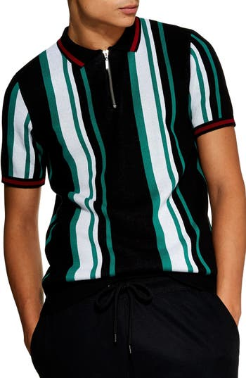 Topman Stripe Zip Polo