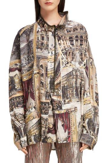 Acne Studios Sonia Theatre Print Linen Shirt