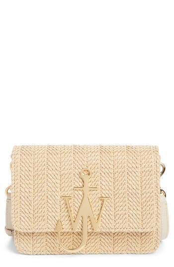 J.W. Anderson Logo Raffia & Leather Shoulder Bag