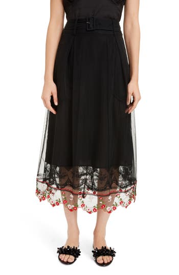 Simone Rocha Belted A-Line Tulle Skirt