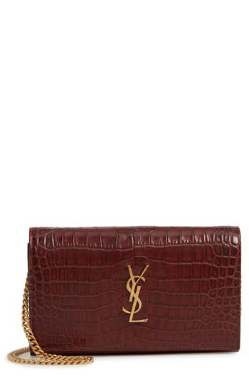 Saint Laurent Kate Croc Embossed Leather Wallet on a Chain