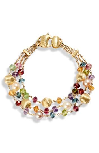 Africa Semiprecious Stone & Pearl Bracelet