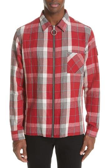 Off-White Diagonal Skull Graphic Zip Check Shirt