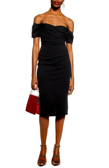 Topshop Off the Shoulder Wrap Midi Dress