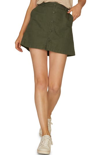 Sanctuary Venture Surplus Button Front Miniskirt