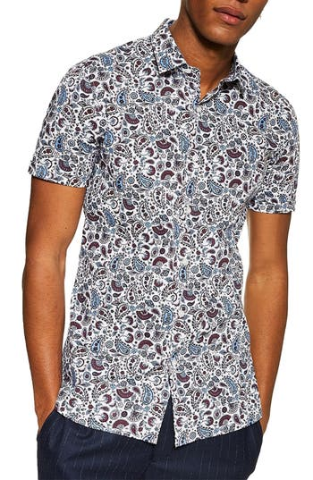 Topman Paisley Print Slim Fit Shirt