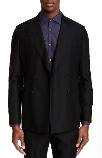 Eidos Deven Trim Fit Hopsack Wool Blend Double Breasted Dinner Jacket