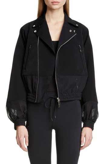 noir kei ninomiya Sheer Panel Moto Jacket