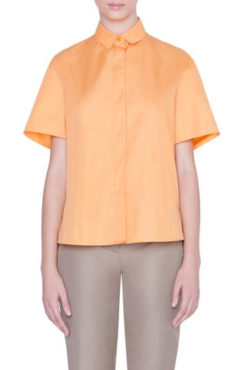 Akris punto Ruffle Detail Short Sleeve Shirt