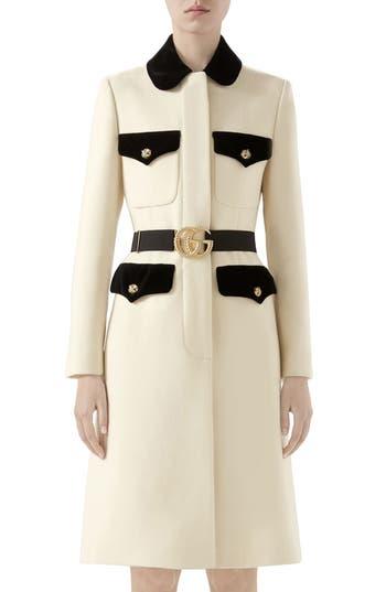 Gucci Velvet Trim Belted Wool Coat