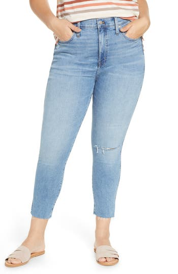 Madewell Ripped 10-Inch High Waist Crop Skinny Jeans (Emery) (Regular & Plus Size)