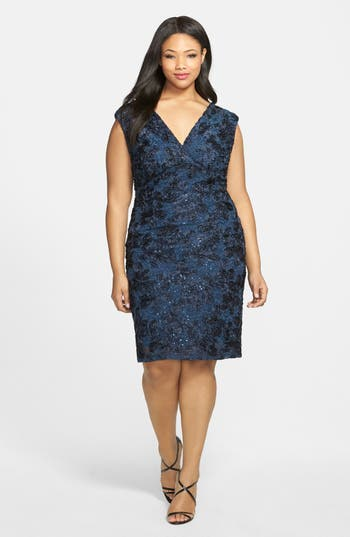 Plus Size Marina Embroidered Rosette Sequin Lace Double V-Neck Sheath Dress