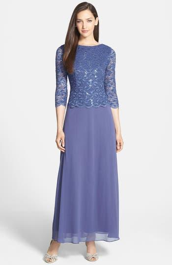 Women's Alex Evenings Mock Two-Piece Dress, Size 16 - Blue