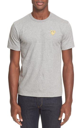 Men's Comme Des Garcons Play Crewneck T-Shirt, Size Small - Grey