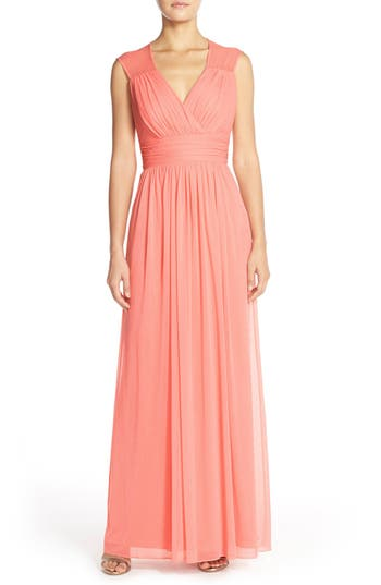 Alfred Sung Shirred Chiffon Cap Sleeve Gown