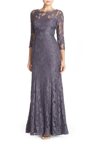 Adrianna Papell Illusion Yoke Lace Gown, Metallic
