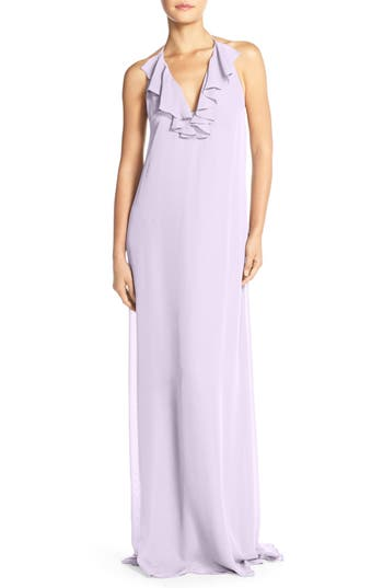 Women's Nouvelle Amsale 'Daryl' Ruffle Neck Chiffon Halter Gown