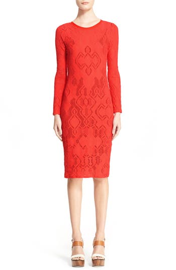 Fuzzi Long Sleeve Geo Lace Sheath Dress, Red