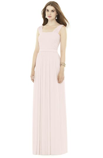 Alfred Sung Pleat Chiffon Knit A-Line Gown With Belt, Pink