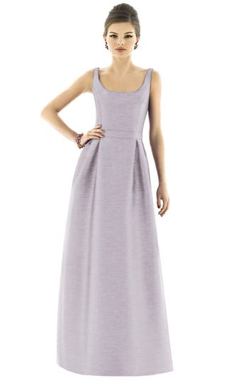 Alfred Sung Scoop Neck Dupioni Full Length Dress, Metallic